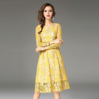 YJSFG HOUSE Lace Crochet Hollow Out Autumn Dress Elegant Long Sleeve Slim Party Dresses Yellow Chic