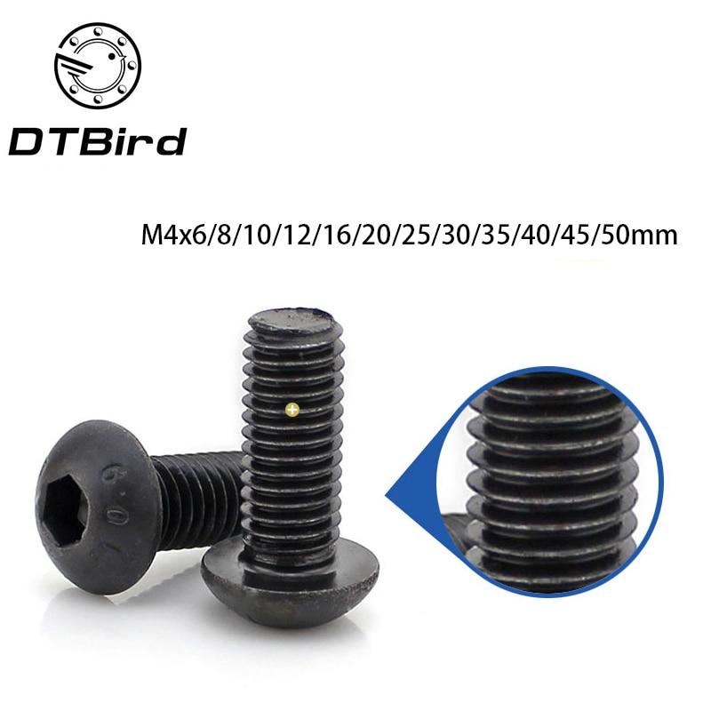 Free shipping 100PCS M4 series 10.9 pan round head hex socket screws M4*6/8/10/12-50 mm the mushroom  2017 20pcs m3 6 m3 x 6mm aluminum anodized hex socket button head screw