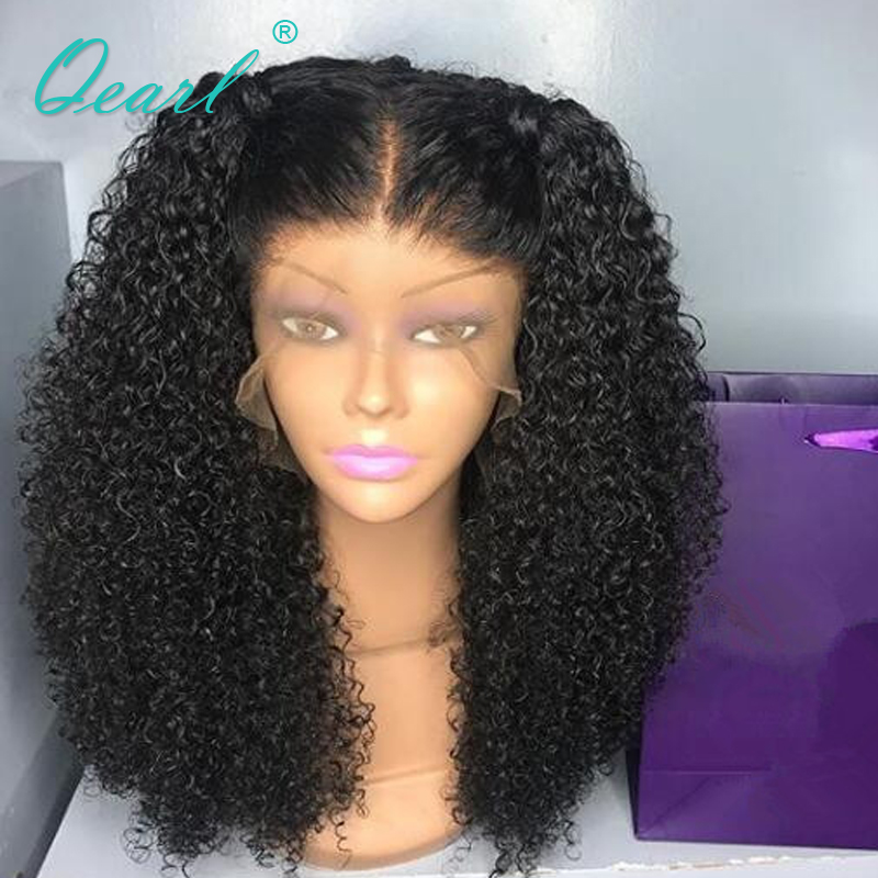 360 Lace Frontal Wig With Baby Hairs Curly Black Color Malaysian Remy Hair Human Hair Lace Wig 150% 180% Middle Part Qearl Hair Extensions & Wigs Human Hair Lace Wigs