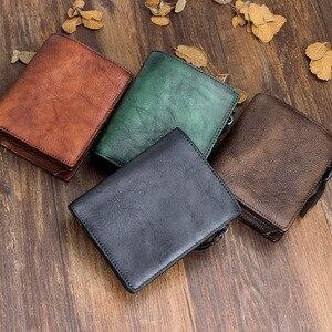 Image 2 - AETOO cartera de cuero suave hecha a mano para hombre, Cartera de sección vertical corta, Estilo Vintage, de cuero curtido vegetal