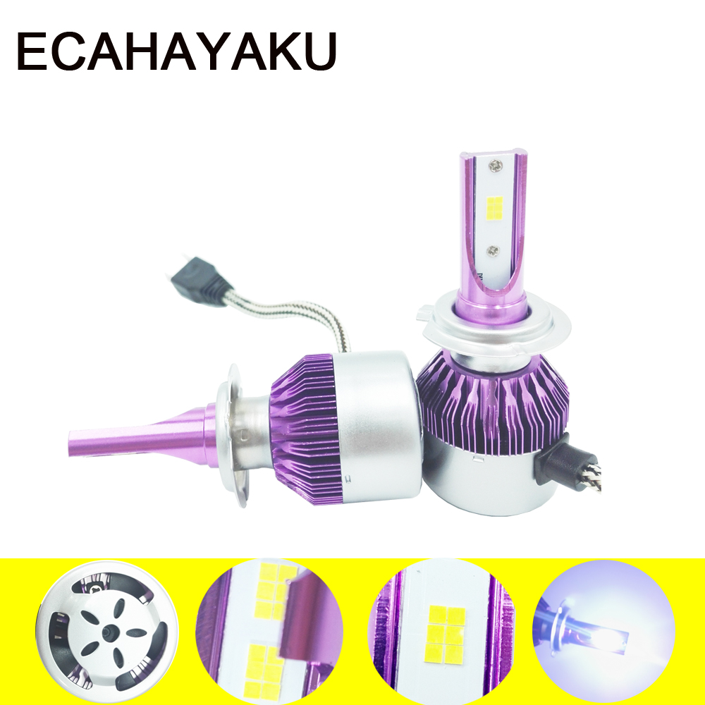 2pcs H1 H7 H11 9005 9006 Car Led Headlights Purple Fog light Bulbs 72W white 6000K External light Source Auto Front CSP Headlamp