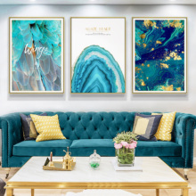 Nordic style living room decoration painting abstract oil blue feather murals creative art English letters