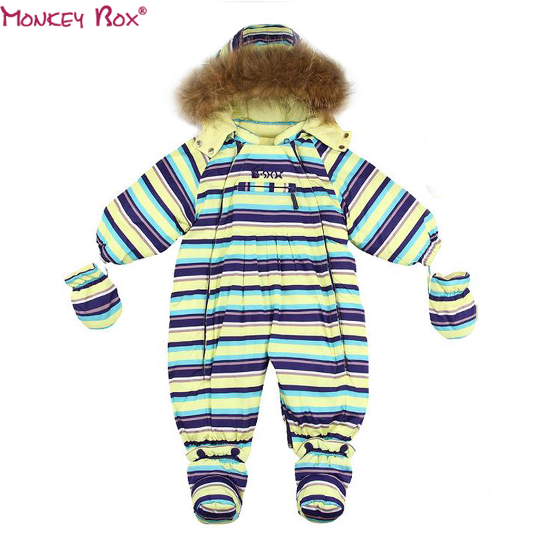 ФОТО New 2017  Winter windproof Girl Down Romper Outdoor child Ski suit infant clothes boy creepers Overall Boys Onesie infantil