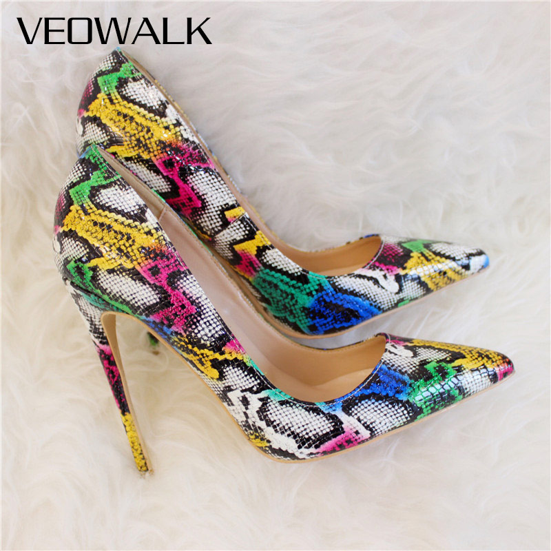 Veowalk Boa Snake Embrossed Pattern Women Sexy Pointed Toe Extremely High Heels Ladies Slip-on Stiletto Pumps Party Club Shoes