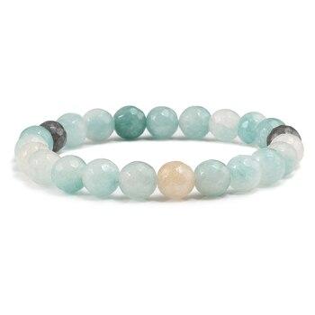 18 Style élastique pierre naturelle blanc rose violet perles hommes Bracelet Femme Homme bouddha prière perle Bracelets & Bracelets bijoux