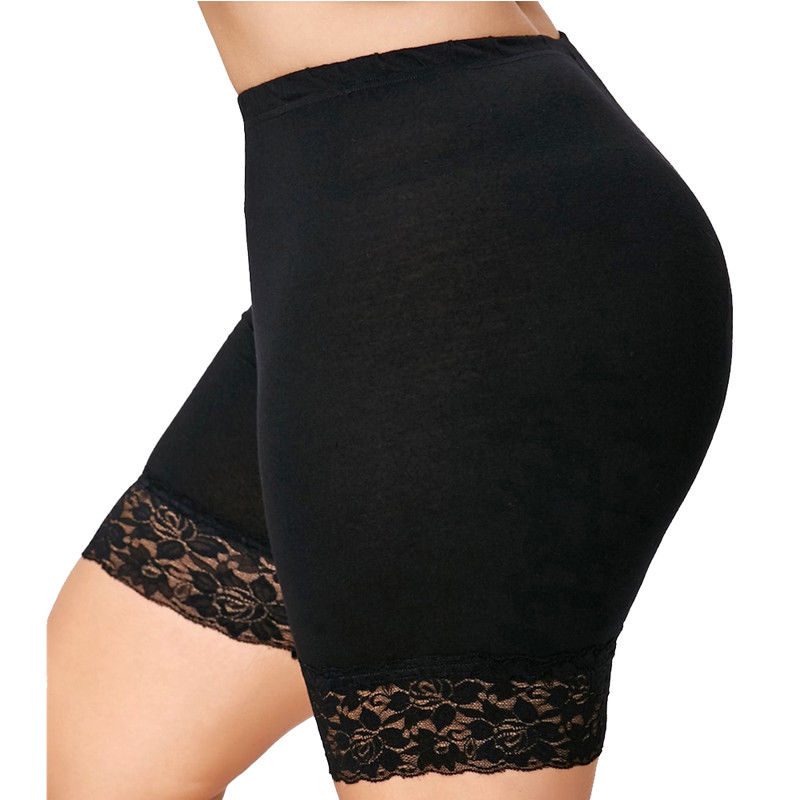 New Womens Scallop Lace Trim Gym Tights Viscose Active Shorts Cycling Hot Pants