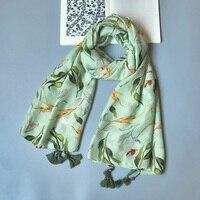 IANUS Delle Donne Del Cotone Sciarpa Verde Grandi Foglie Modello Scialle di Pashmina Caldo Moda Molle Dell'involucro NEW [3033]
