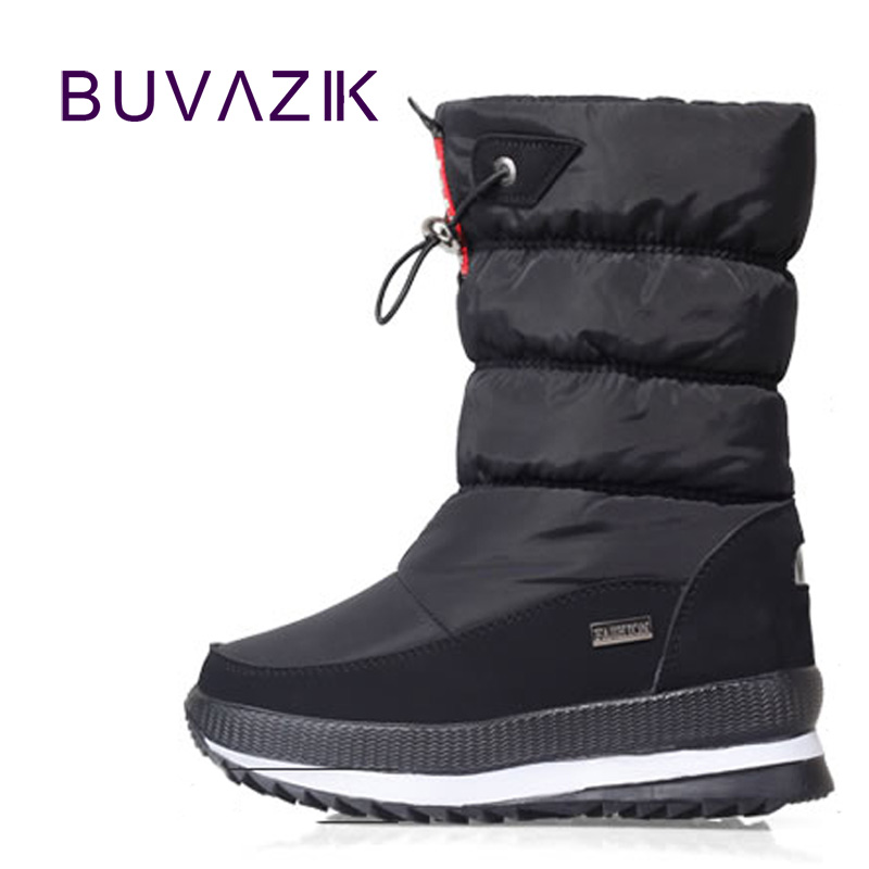 2017 fashion women warm winter snow boots thick cotton non-slip shoes girls pink white waterproof size 36-40