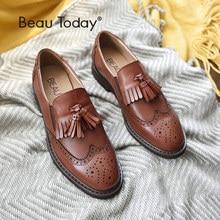 BEAU Genuine Leather Oxfords Shoes Brogue Style Women Fashion Round Toe Elastic Slip-On Waxed Calfskin Casual Flats 21047