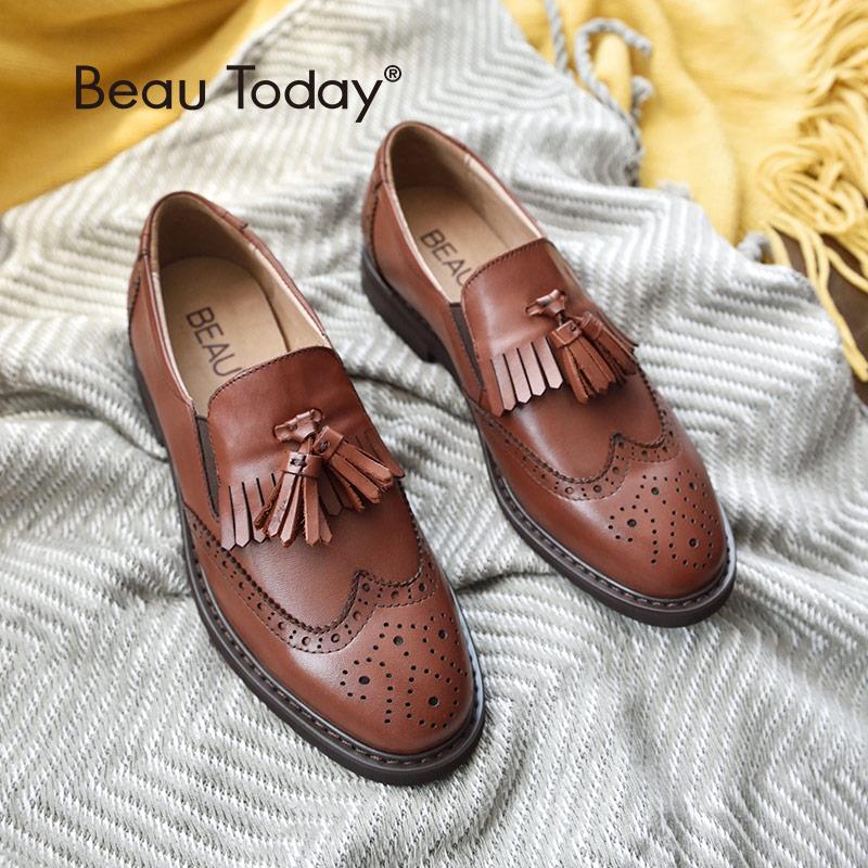 BeauToday mocasines mujer Wingtip Brogue estilo piel de becerro genuino hecho a mano punta redonda Slip On Casual vestido pisos 21047