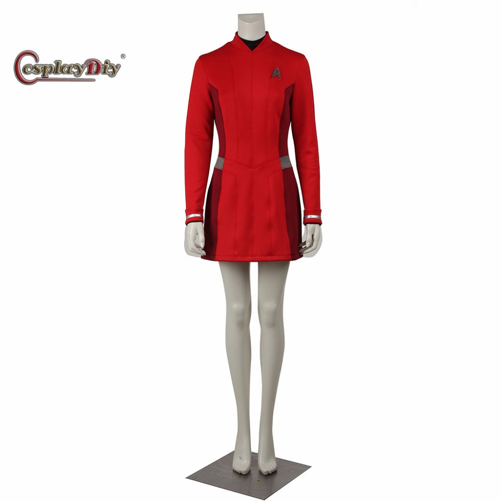 Star Trek Beyond Uhura Cosplay Dress Red Color Uniform Female Duty Uniform Halloween Cosplay Costume With Badge Custom Made