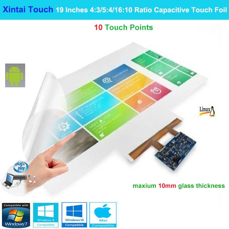 Xintai Touch 19 Inches 4:3/5:4/16:10 Ratio 10 Touch Points Interactive Capacitive Multi Touch Foil Film  Plug & Play