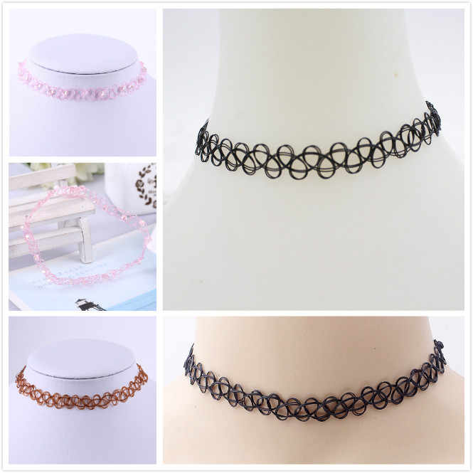 fashion Choker Necklaces Holiday Seaside Resort Beach Necklaces Jewelry Water Drop Circular Cobwebbing Clavicle Necklaces