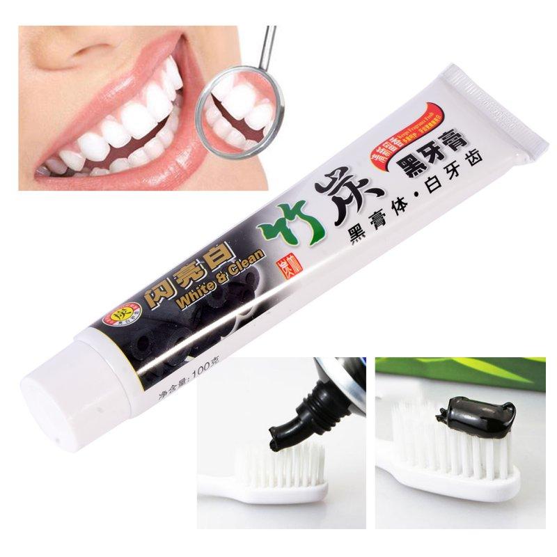 Nova pasta de dentes de carvão vegetal de bambu branqueamento pasta de dentes preta pasta de dentes de carvão dental higiene oral 100g gu82