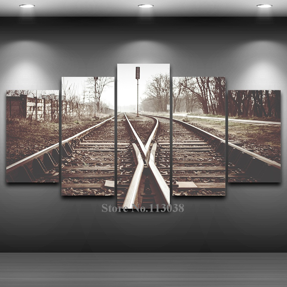 Hot Selling 5 Panels Old Railway Printed Spray Canvas Painting Home Decoration Framed Painting Wall Pictures