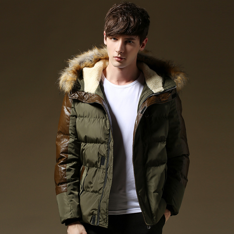 New Thick Warm Winter Jacket Men Fur Hood Patchwork Leather Plus ...