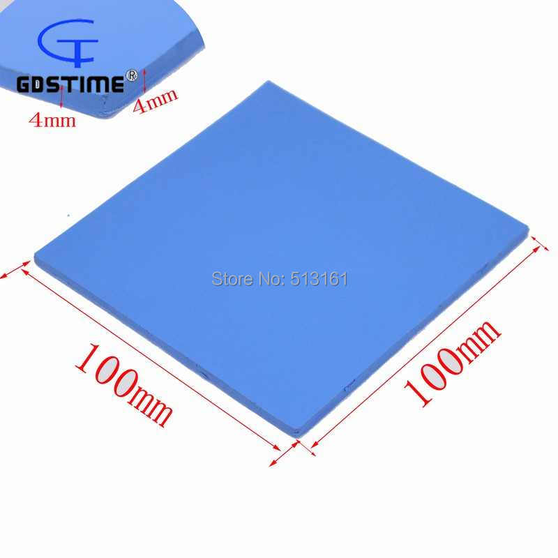 Купить с кэшбэком 5PCS/lot Gdstime 100mm x 100mm x 4mm Conductive Silicone Blue Thermal Pad