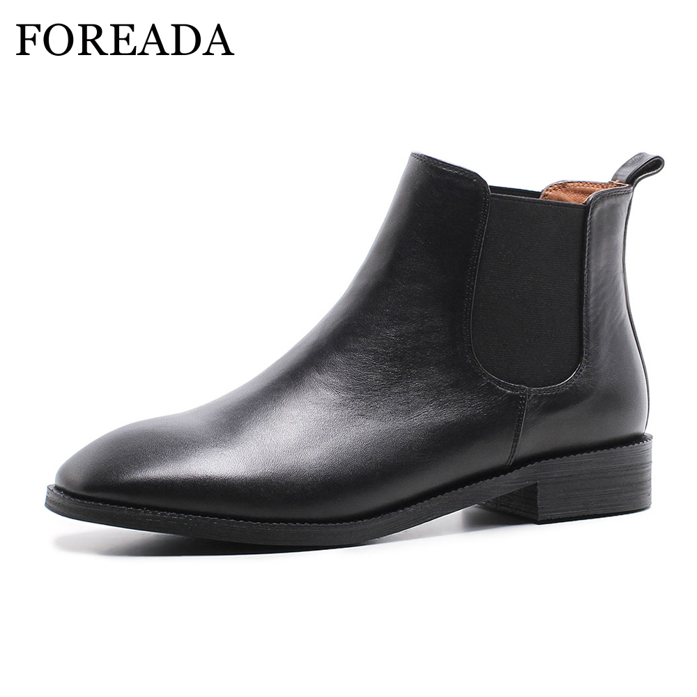 FOREADA Natural Leather Chelsea Boots Women Winter Flat Ankle Boots Genuine Leather Short Boots Autumn Ladies Shoes Black Brown autumn winter black gold leather chelsea ankle boots european design man chelsea buckle boots dress metal chain short boots