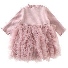 AmzBarley Toddler girls Princess dress Long sleeve Lace Mesh dress baby girl birthday party Costume Infant Ball gown clothing недорого