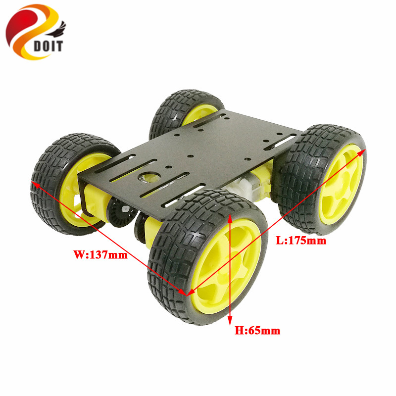 DOIT New Arrival metal robot 4wd car chassis C101 with four TT motor wheel for arduino uno r3 diy maker eduational teaching kit 4wd 60mm mecanum wheel arduino robot kit 10021