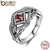 BAMOER אותנטי 925 כסף סטרלינג גיאומטרי פאנק Weave טבעת אצבע טבעות תכשיטי וינטג 'כסף סטרלינג לנשים SCR059