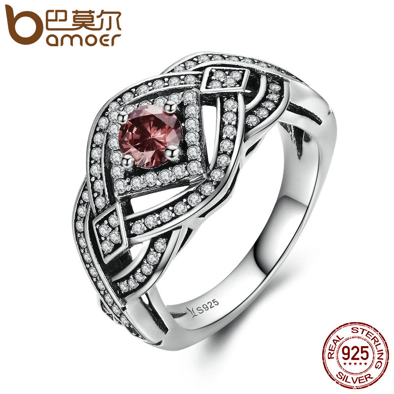 BAMOER Authentic 925 Sterling Silver Punk Weave Finger Ring Geometric Rings For Women Sterling Silver Vintage Jewelry SCR059 blue handmade geometric pattern embroidery finger rings