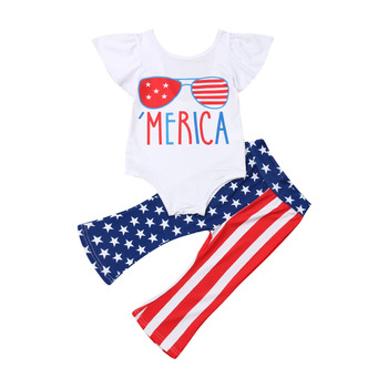 Комплект летней одежды для маленьких девочек, одежда для Дня независимости, 4 июля, комбинезон, штаны, одежда для детей, одежда для малышей