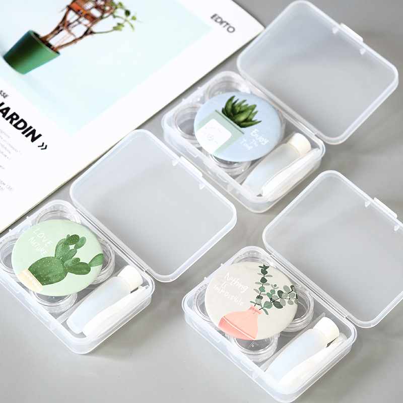 Collection Here Fouretaw 1 Set Cute Style Floral Cactus Pattern Pocket Mini Contact Lens Case Travel Kit Easy Carry Mirror Mirror Container Good For Energy And The Spleen Eyewear Accessories