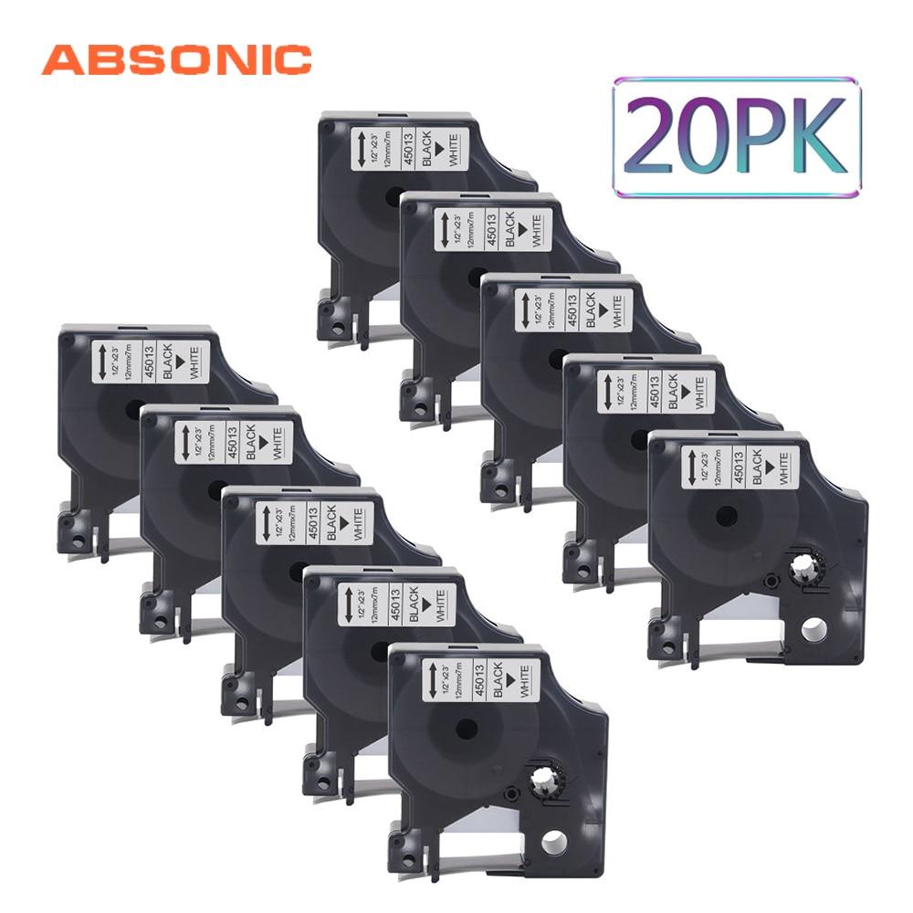 Absonic 20 pièces 12mm Lables Cassette DYMO D1 45013 noir sur blanc imprimante ruban pour imprimante Dymo LabelManager 160 210D 280