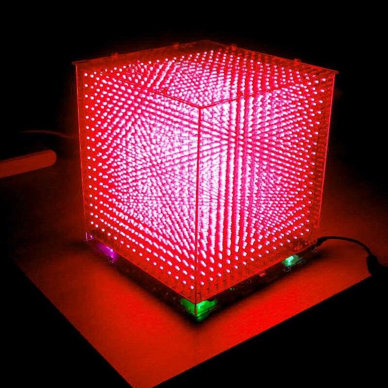 Zirrfa minilampka cubeeds LED spektrum muzyki, 3D 16 16x16x16 elektroniczny zestaw do majsterkowania, części wyświetlacza LED, prezent na boże narodzenie, na kartę TF