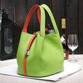 2016 garantido genuíno couro de Luxo mulheres de couro bolsa de marca Famosa senhora sacos do fechamento da bolsa feminina balde sacos de compras