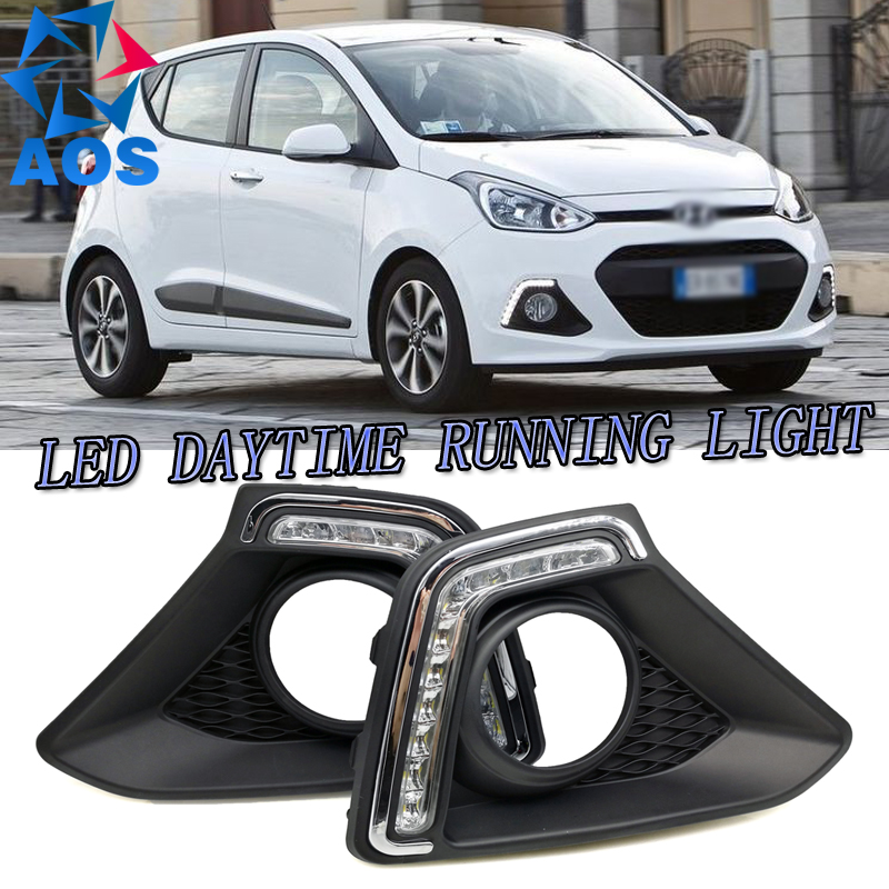 2PCs/set car styling LED DRL waterproof drl LED Daytime Running Light For Hyundai Xcent Grand I10 2013 2014 2015 ролевые игры hti кассовый аппарат smart
