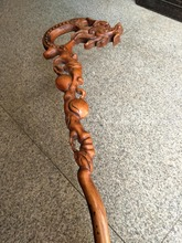 Rare Old Chinese  old wood cane walking stick,peach&dragon,exquisite designs,Hand-carved,Ancient,free shipping