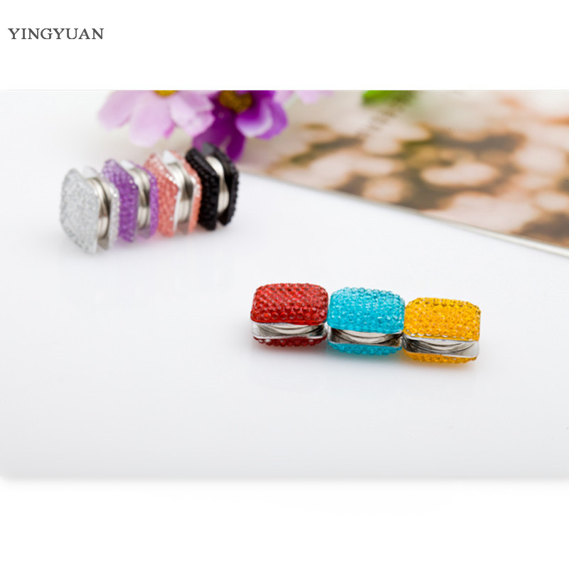 6 PCS Mix Color Crystal Square Magnet Brooch Pin Muslim Scarf Clips   headwear