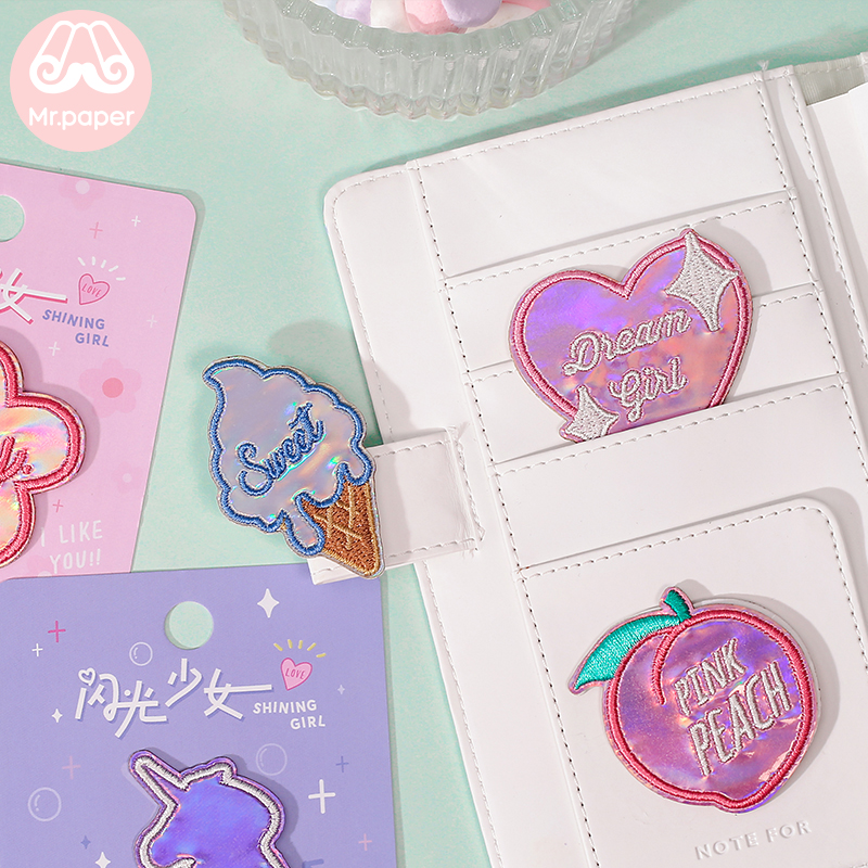 Mr.Paper 6 Designs Peach Ice Cream Unicorn Heart Pink Laser Embroidery Stickers Stitch Patches DIY Clothes Deco Fabric Stickers