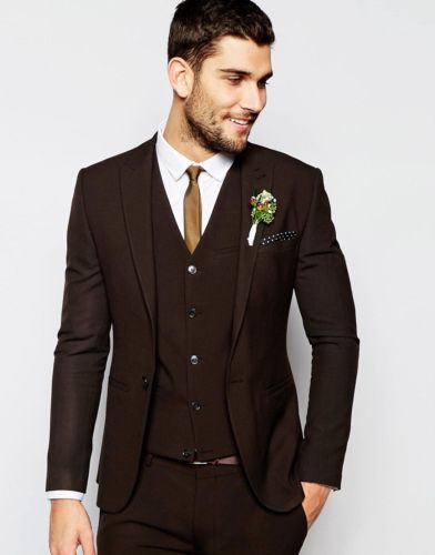 Latest Coat Pant Designs Brown Peaked Lapel Formal Custom Made Bridegroom  Wedding Suit For Men Skinny 3 Pieces Costume Homme C