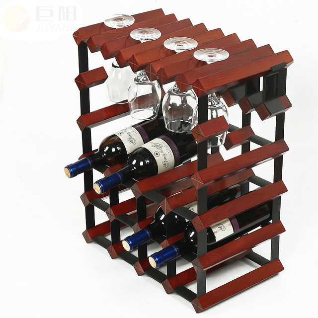 Commercial Bar Wood Wine Shelf Decoration Creative Wine Cup Rack Household Champagne Hanging Goblet Holders 12 Bottles  6 Glass