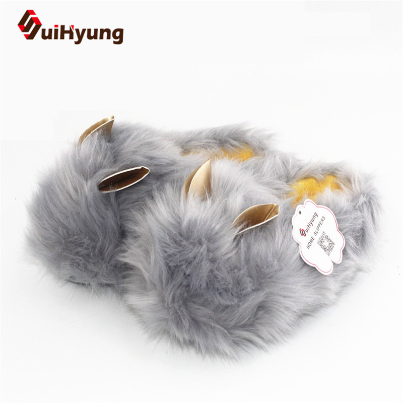 Suihyung New Fashion Design Winter Warm Women Home Slippers Funny Animals Slippers Faux Fur Rabbit Indoor Shoes Bedroom Slippers qweek women home animal slippers fur indoor rabbit slippers warm ladies cute funny adult slippers female slide house shoes