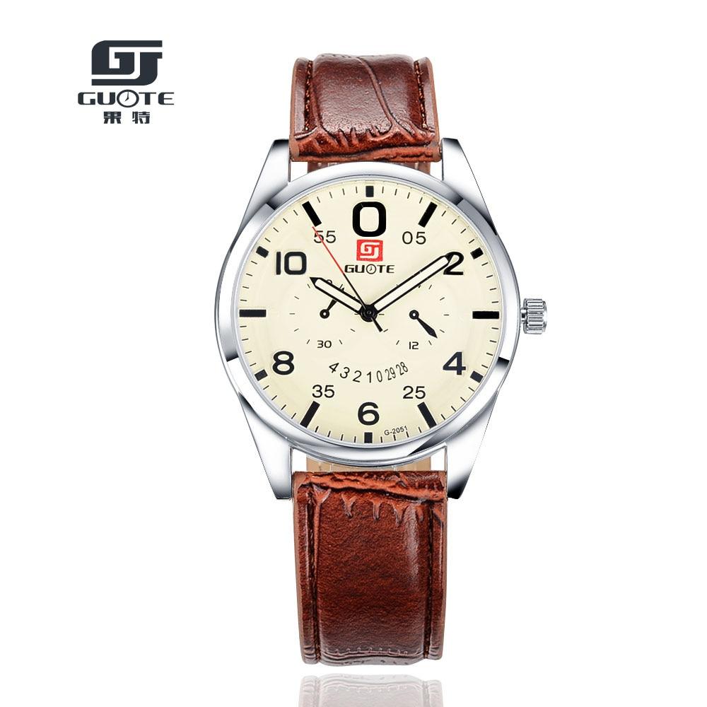829d9b1efc1 2018 Nova Moda Top Marca GUOTE 3 Olhos Dos Homens de Negócios casuais  Relógio de Quartzo Dos Homens Pulseira de Couro Relógios Relogios  masculinos Quente ...