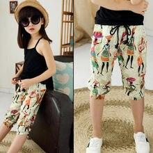 d657289a2e 4-13 Years Fashion Casual 2017 Summer Beach Baby Girls Pants Print  Calf-length Kids Pants Children Trousers Girl Clothes JW1507