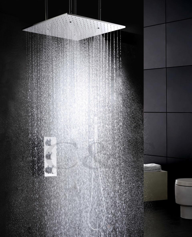 Atomisation et fonction de l'eau de pluie produits de salle de bain 20 pouces bain douche tête Thermostat bain salle de bains douche robinet ensemble