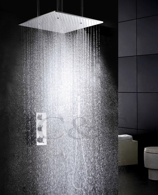 Função de atomização E Precipitação de Água Produtos de Banho 20 Polegada Banho Termostato Banho De Chuveiro Do Banheiro Chuveiro Torneira Conjunto