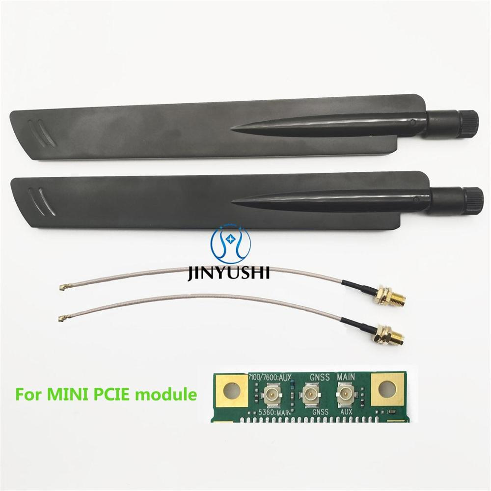 2sets 38dbi 4G LTE High Gain External Antenna With IPEX/MHF4 To RPSMA Pigtail UFL IPEX4 To SMA Extension Cable For Mini Pcie M.2