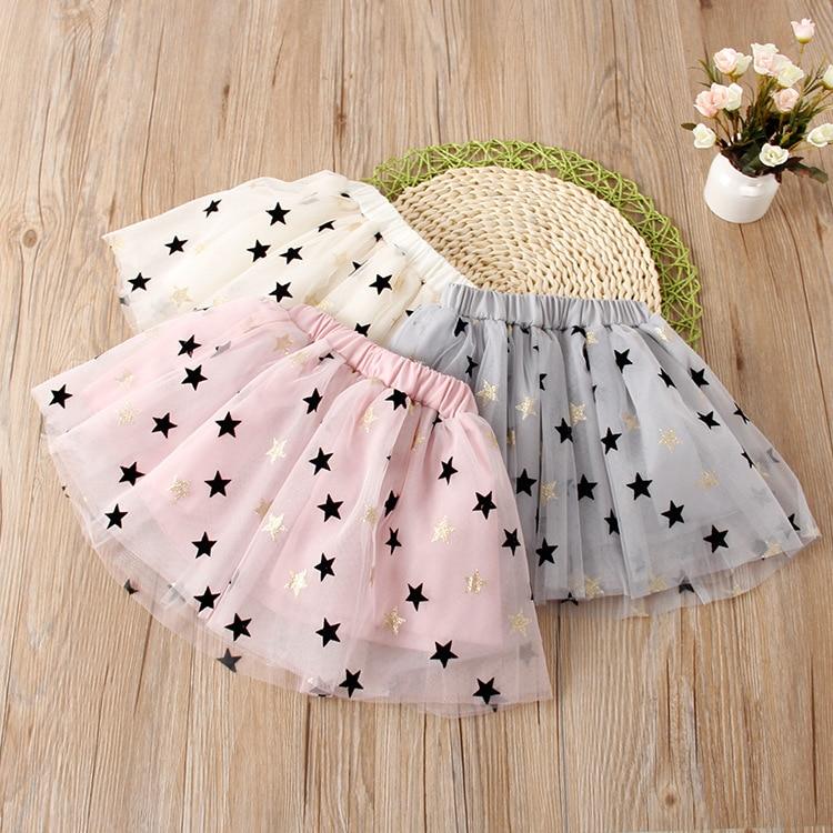 Baby Girls Tutu Faldas Niños Niña Golden Belt Stars Falda con lentejuelas Niño Princesa Ropa de verano 1 unid