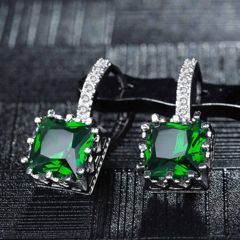 SHUANGR mode cubique zircone boucles d'oreilles pour femmes élégant Suqare CZ cristal breloques bijoux Brincos Femme orecchini 9 couleurs