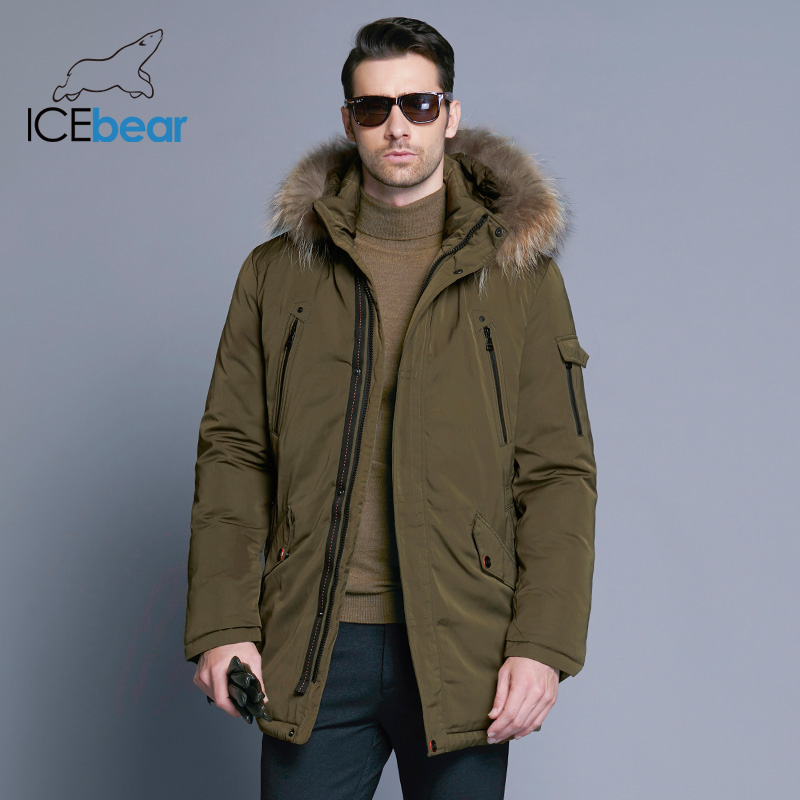 Image 2 - ICEbear 2019 Man Warm Winter Brand Jacket Luxury Detachable Fur Collar Turtleneck Windproof Concise Comfortable Cuffs 17MD903D-in Parkas from Men's Clothing