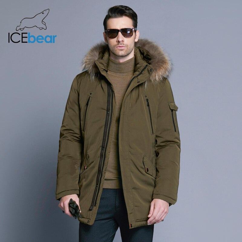 ICEbear 2019 homme chaud hiver marque veste de luxe détachable col roulé col roulé coupe-vent concis confortable poignets 17MD903D - 2