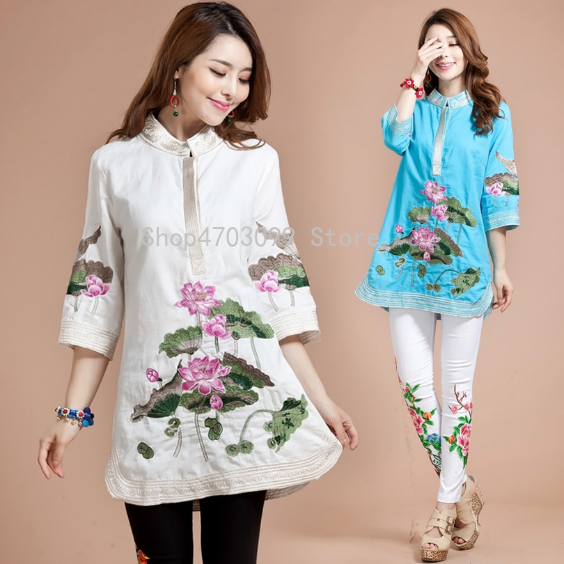 New Women Blouse Spring Autumn Tang Suit Traditional Chinese Top Mandarin Collar cotton Linen Cheongsam Blouse Chinese Style Top