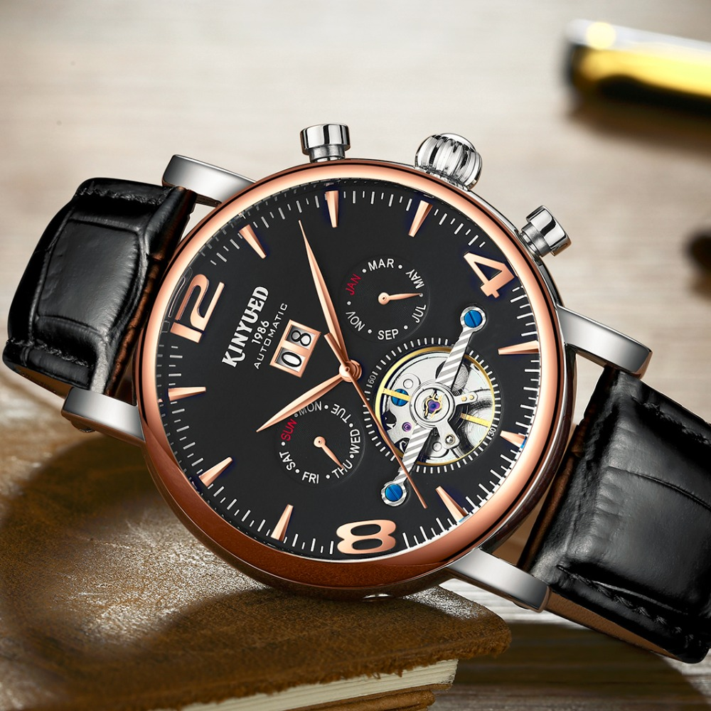 Black Gold Men Automatic Watch Luxury Brand Alloy Leather Band Waterproof Skeleton Mechanical Business Wristwatches Casual Dress цена