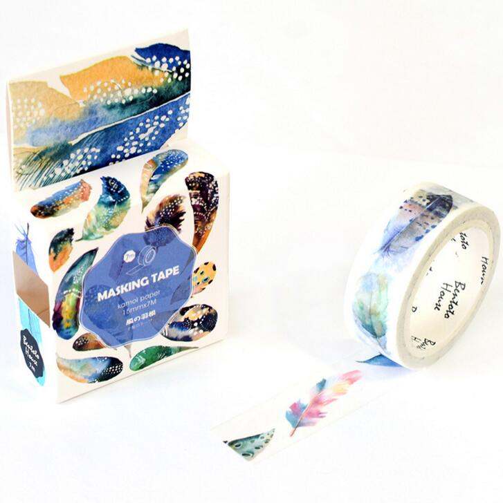 JA208 The Flying Feather Decorative Washi Tape DIY Scrapbooking Masking Tape School Office Supply Escolar Papelaria 1 5cm 5m star twigs gold silver washi tape diy scrapbooking masking tape school office supply escolar papelaria